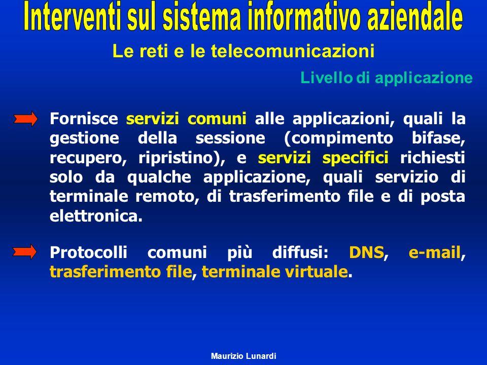 Le reti e le telecomunicazioni Livello di applicazione Fornisce servizi comuni alle applicazioni, quali la gestione della sessione (compimento bifase,
