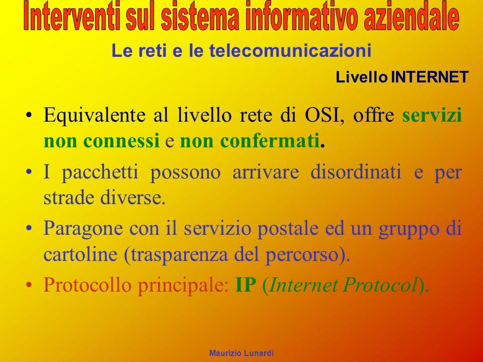 Le reti e le telecomunicazioni Livello INTERNET Equivalente al livello rete di OSI, offre servizi non connessi e non confermati. I pacchetti possono a