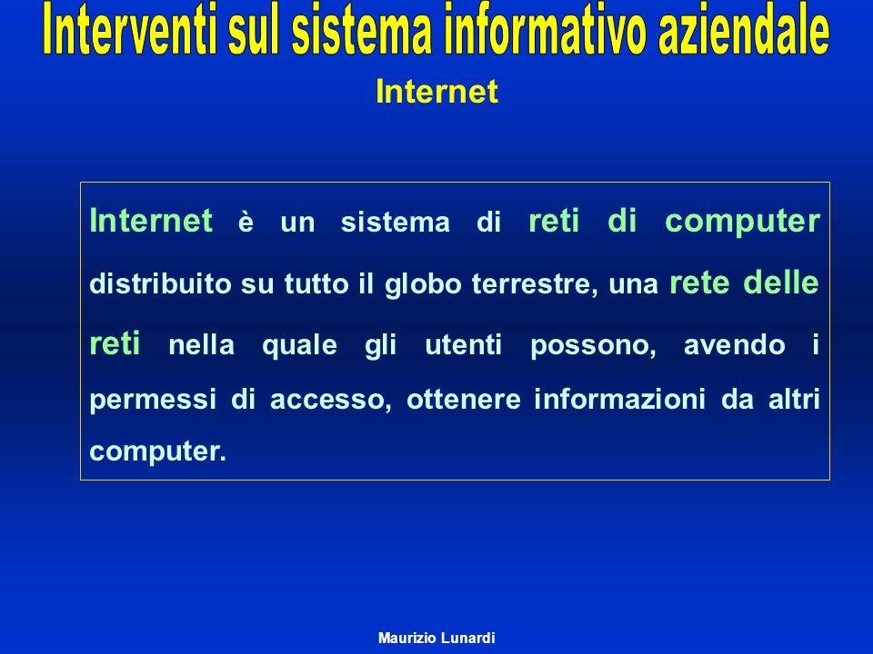 Internet è un sistema di reti di computer distribuito su tutto il globo terrestre, una rete delle reti nella quale gli utenti possono, avendo i permes