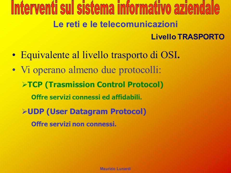 Le reti e le telecomunicazioni Livello TRASPORTO Equivalente al livello trasporto di OSI. Vi operano almeno due protocolli: TCP (Trasmission Control P