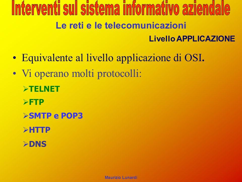 Le reti e le telecomunicazioni Livello APPLICAZIONE Equivalente al livello applicazione di OSI. Vi operano molti protocolli: TELNET SMTP e POP3 FTP HT