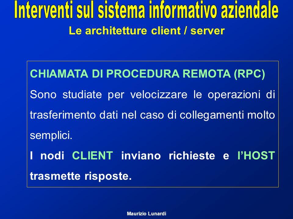 Le architetture client / server Modello client/server (1) È una modalità di interazione tra host in rete Elaborazione diretta: ad esempio se A vuole modificare un file presente nellhost B A richiede a B il possesso del file B lo spedisce ad A A lo modifica A lo restituisce a B Maurizio Lunardi