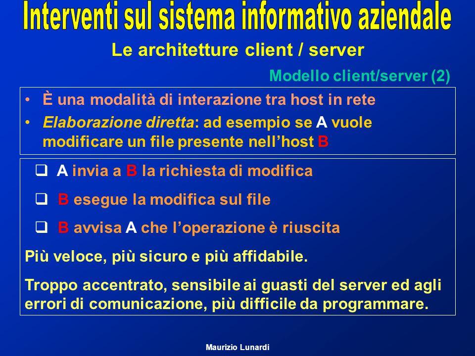 Le architetture client / server Modello client/server (2) A invia a B la richiesta di modifica B esegue la modifica sul file B avvisa A che loperazion