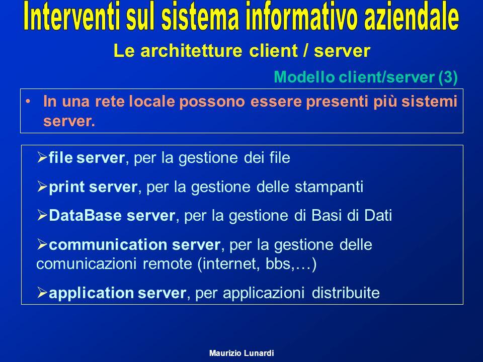 Le architetture client / server Modello client/server (3) file server, per la gestione dei file print server, per la gestione delle stampanti DataBase