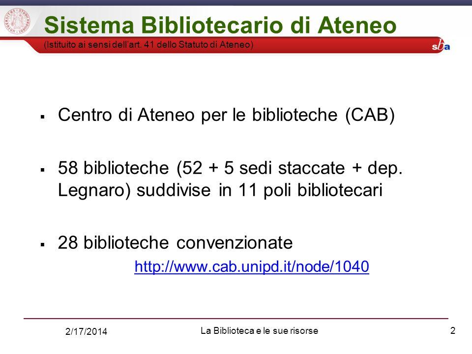 2/17/2014 La Biblioteca e le sue risorse2 Sistema Bibliotecario di Ateneo (Istituito ai sensi dellart.