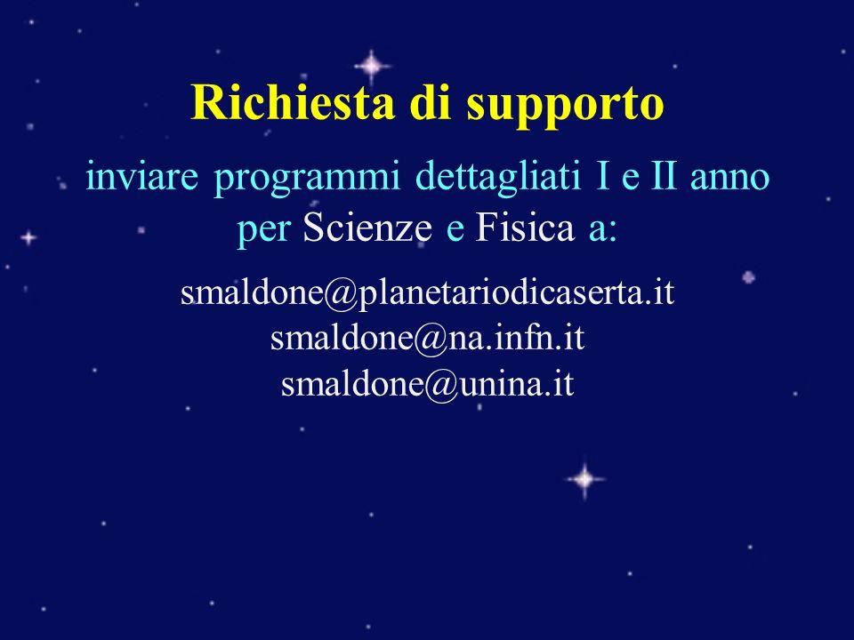 Richiesta di supporto inviare programmi dettagliati I e II anno per Scienze e Fisica a: smaldone@planetariodicaserta.it smaldone@na.infn.it smaldone@u