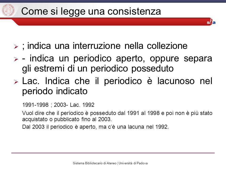 Sistema Bibliotecario di Ateneo | Università di Padova Come si legge una consistenza ; indica una interruzione nella collezione - indica un periodico