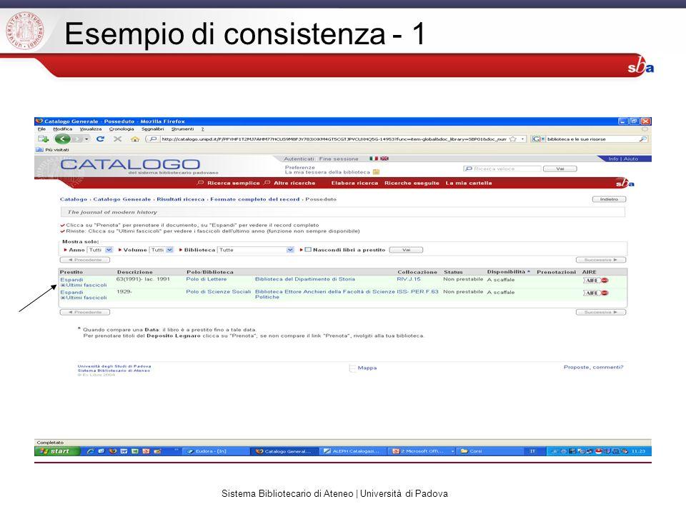 Sistema Bibliotecario di Ateneo | Università di Padova Esempio di consistenza - 1