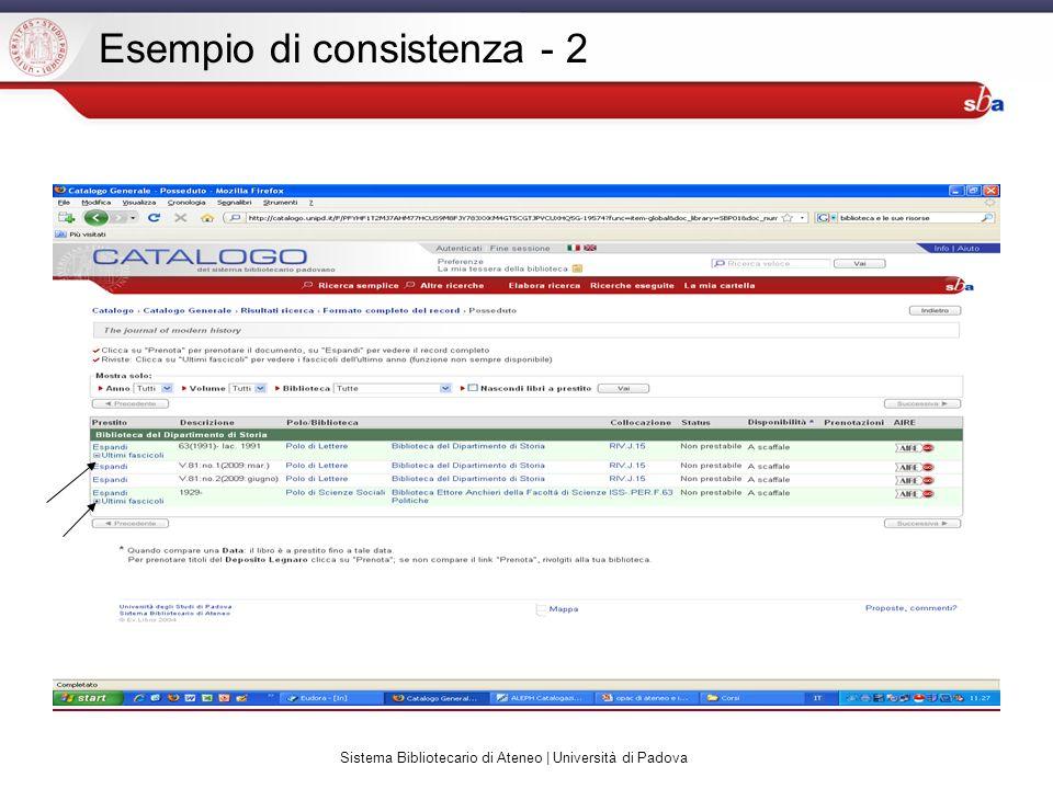 Sistema Bibliotecario di Ateneo | Università di Padova Esempio di consistenza - 2