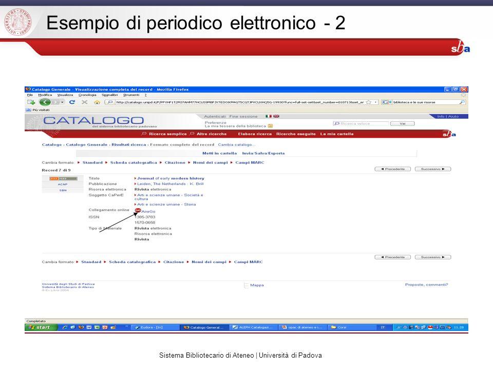 Sistema Bibliotecario di Ateneo | Università di Padova Esempio di periodico elettronico - 2