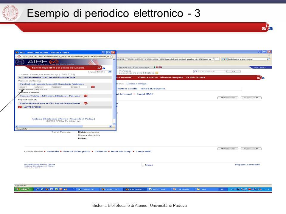 Sistema Bibliotecario di Ateneo | Università di Padova Esempio di periodico elettronico - 3