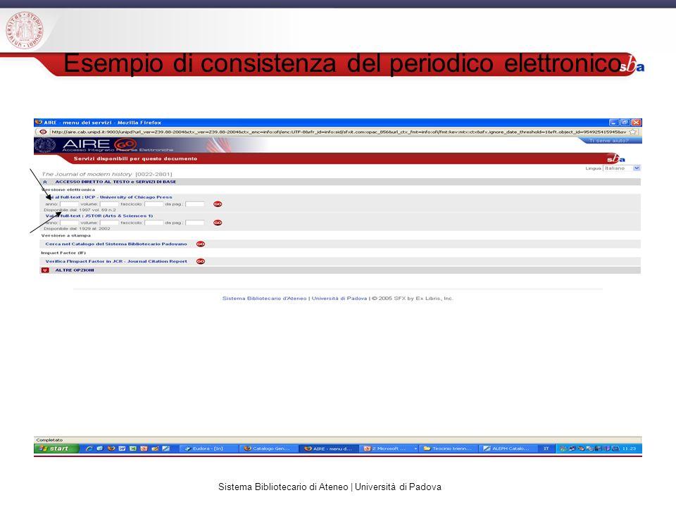 Sistema Bibliotecario di Ateneo | Università di Padova Esempio di consistenza del periodico elettronico