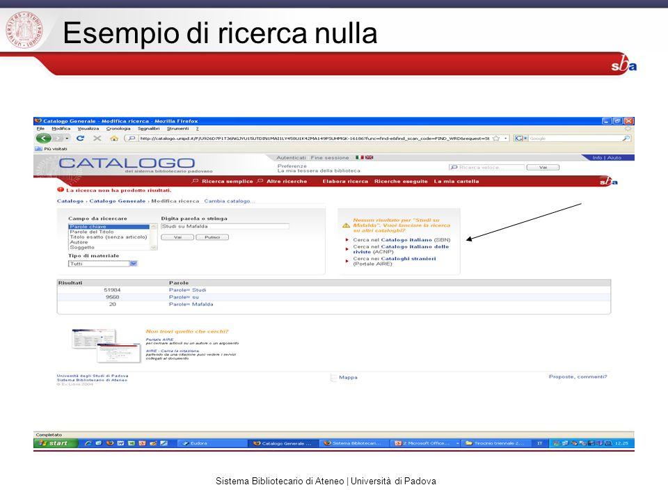 Sistema Bibliotecario di Ateneo | Università di Padova Esempio di ricerca nulla