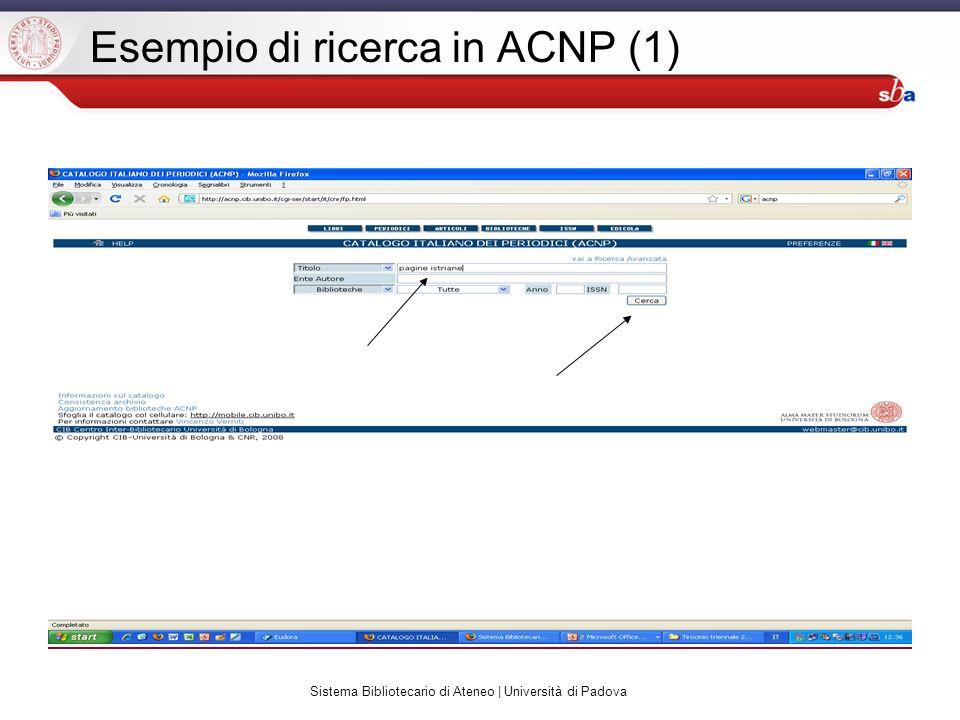 Sistema Bibliotecario di Ateneo | Università di Padova Esempio di ricerca in ACNP (1)