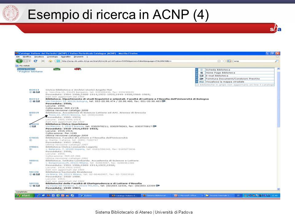 Sistema Bibliotecario di Ateneo | Università di Padova Esempio di ricerca in ACNP (4)