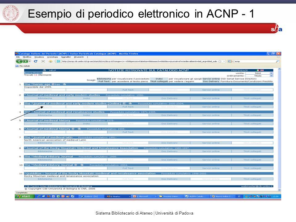 Sistema Bibliotecario di Ateneo | Università di Padova Esempio di periodico elettronico in ACNP - 1