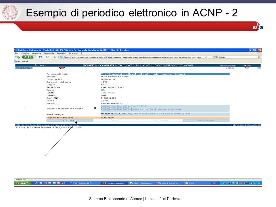 Sistema Bibliotecario di Ateneo | Università di Padova Esempio di periodico elettronico in ACNP - 2