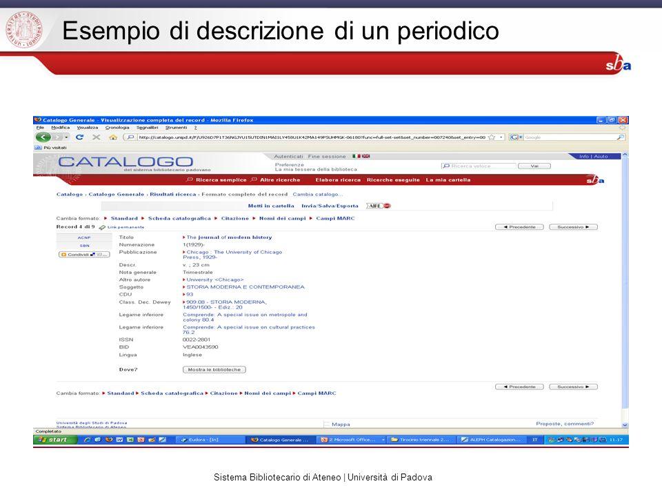Sistema Bibliotecario di Ateneo | Università di Padova Esempio di descrizione di un periodico