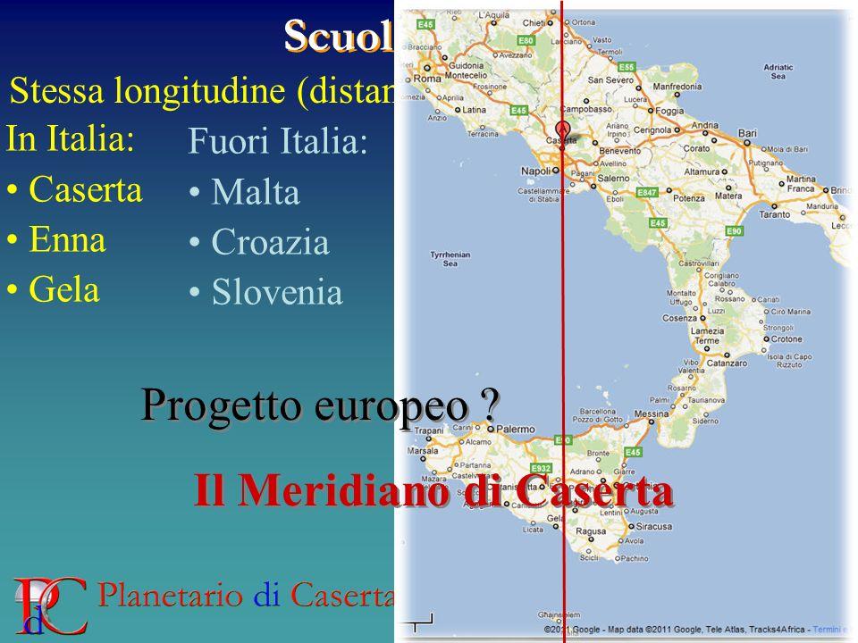 Scuola Partner Stessa longitudine (distanza >200 km) In Italia: Caserta Enna Gela Fuori Italia: Malta Croazia Slovenia Progetto europeo ? Il Meridiano