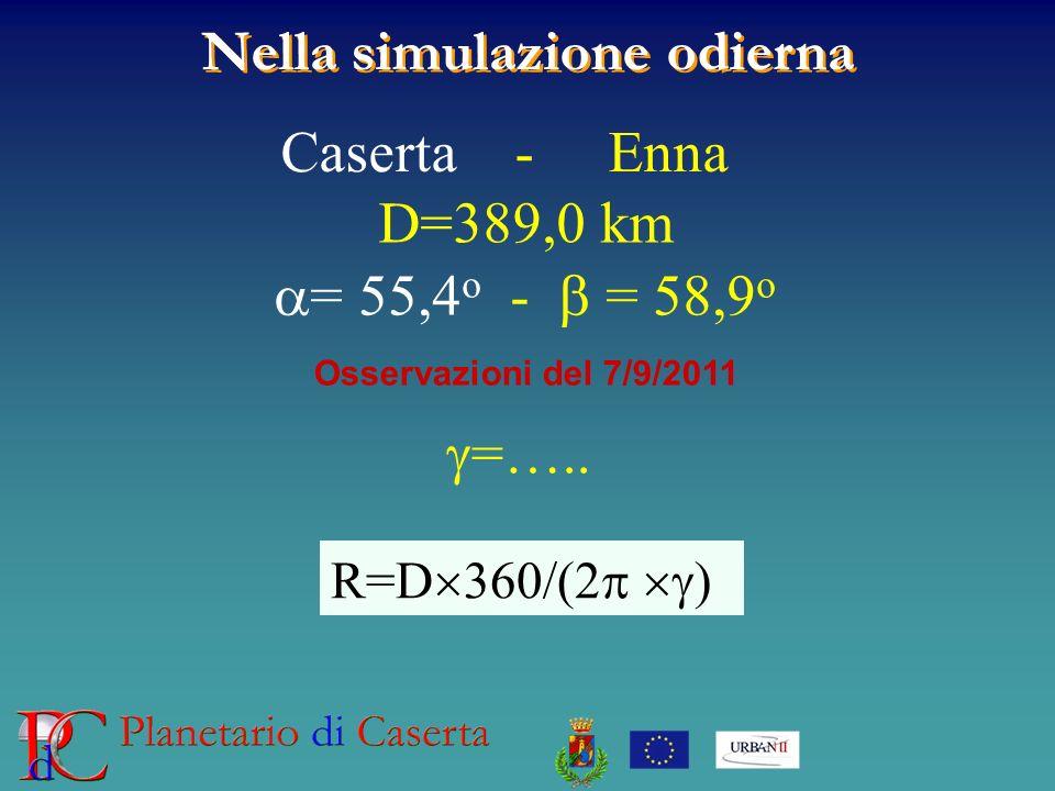 Nella simulazione odierna Caserta - Enna D=389,0 km = 55,4 o - = 58,9 o Osservazioni del 7/9/2011 =….. R=D 360/(2 )