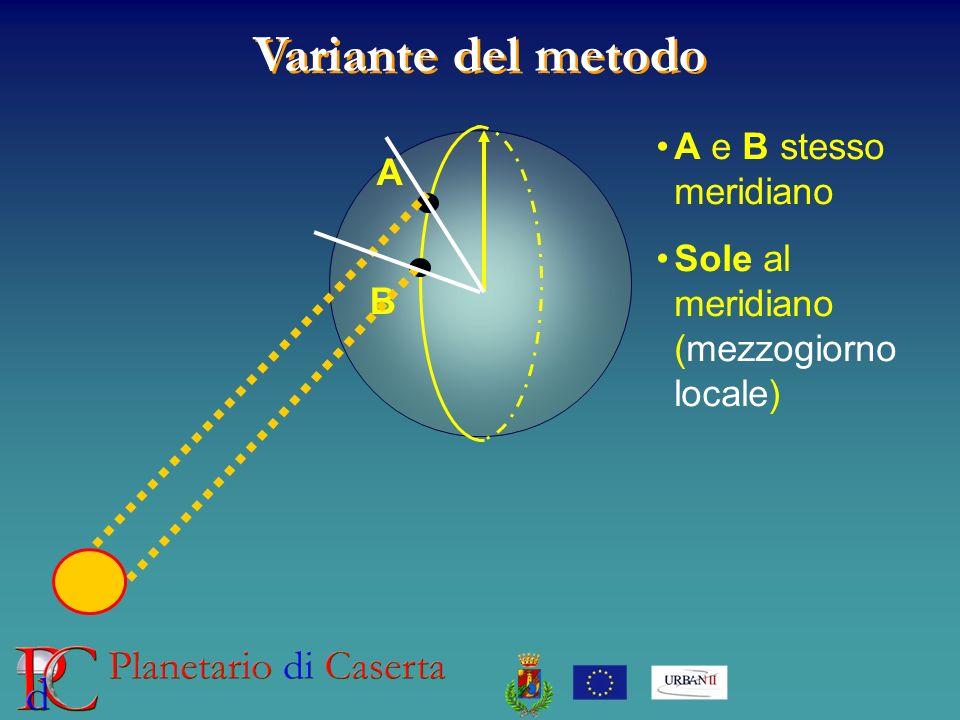 Variante del metodo A B A e B stesso meridiano Sole al meridiano (mezzogiorno locale)
