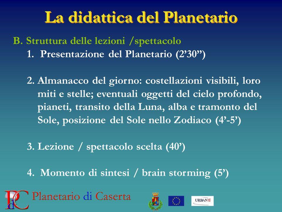 La didattica del Planetario B. Struttura delle lezioni /spettacolo 1. Presentazione del Planetario (230) 2.Almanacco del giorno: costellazioni visibil