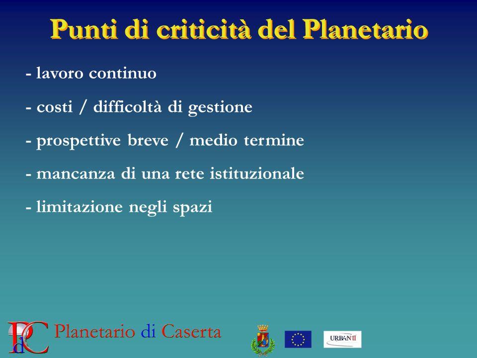 Punti di criticità del Planetario - lavoro continuo - costi / difficoltà di gestione - prospettive breve / medio termine - mancanza di una rete istitu