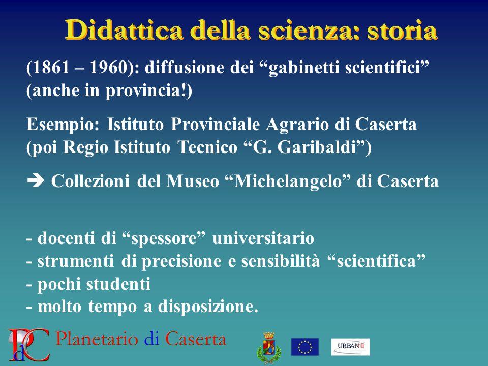 Didattica della scienza: storia (1861 – 1960): diffusione dei gabinetti scientifici (anche in provincia!) Esempio: Istituto Provinciale Agrario di Cas