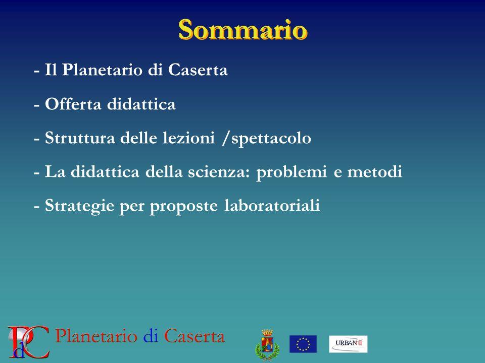 Sommario - Il Planetario di Caserta - Offerta didattica - Struttura delle lezioni /spettacolo - La didattica della scienza: problemi e metodi - Strate