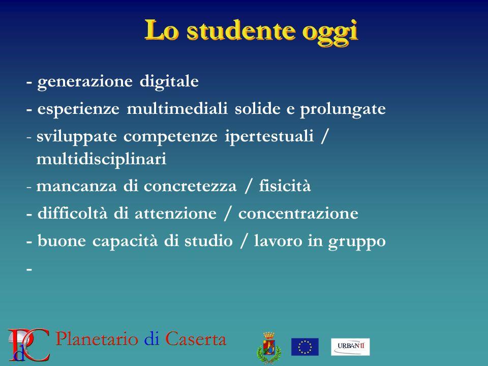 Lo studente oggi - generazione digitale - esperienze multimediali solide e prolungate -sviluppate competenze ipertestuali / multidisciplinari -mancanz
