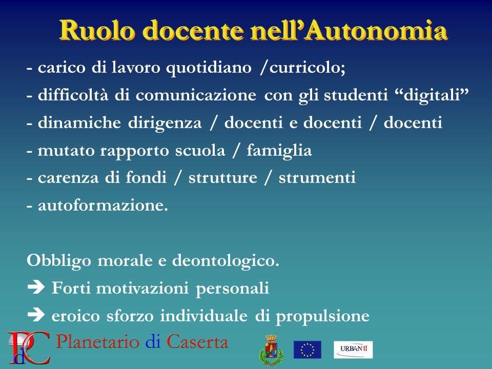 Ruolo docente nellAutonomia - carico di lavoro quotidiano /curricolo; - difficoltà di comunicazione con gli studenti digitali - dinamiche dirigenza /
