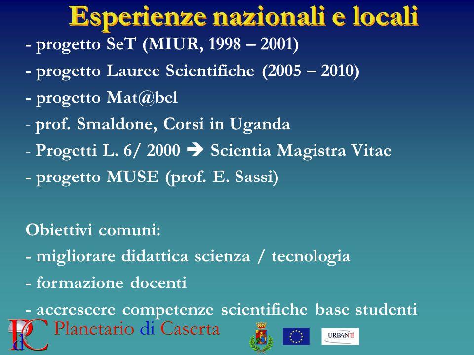 Esperienze nazionali e locali - progetto SeT (MIUR, 1998 – 2001) - progetto Lauree Scientifiche (2005 – 2010) - progetto Mat@bel -prof. Smaldone, Cors