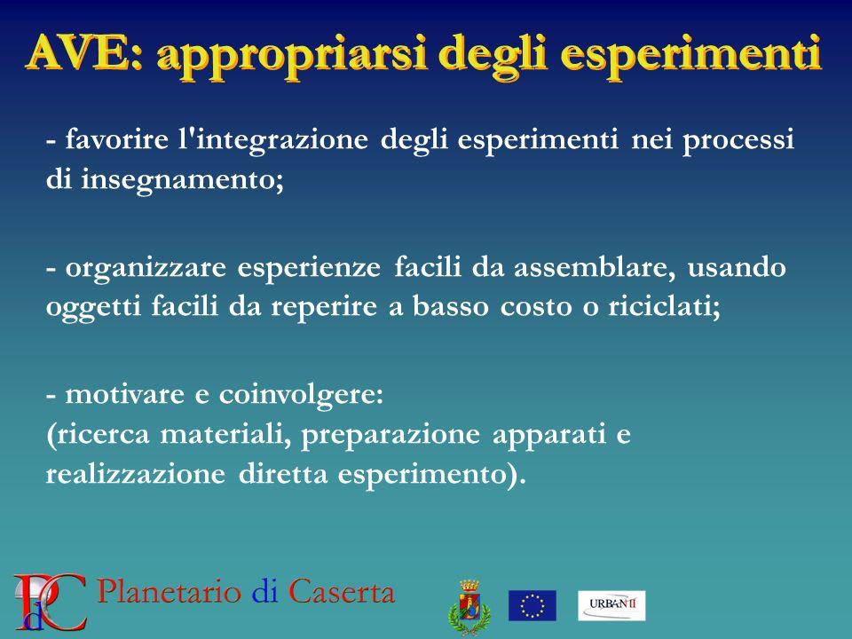 AVE: appropriarsi degli esperimenti - favorire l'integrazione degli esperimenti nei processi di insegnamento; - organizzare esperienze facili da assem