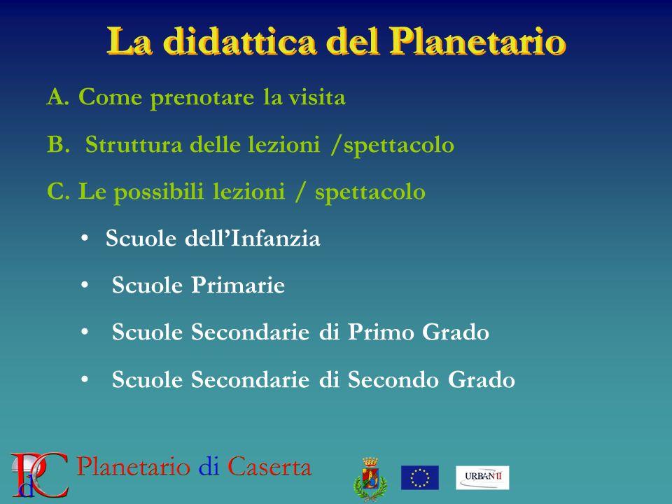 La didattica del Planetario A. Come prenotare la visita B. Struttura delle lezioni /spettacolo C. Le possibili lezioni / spettacolo Scuole dellInfanzi