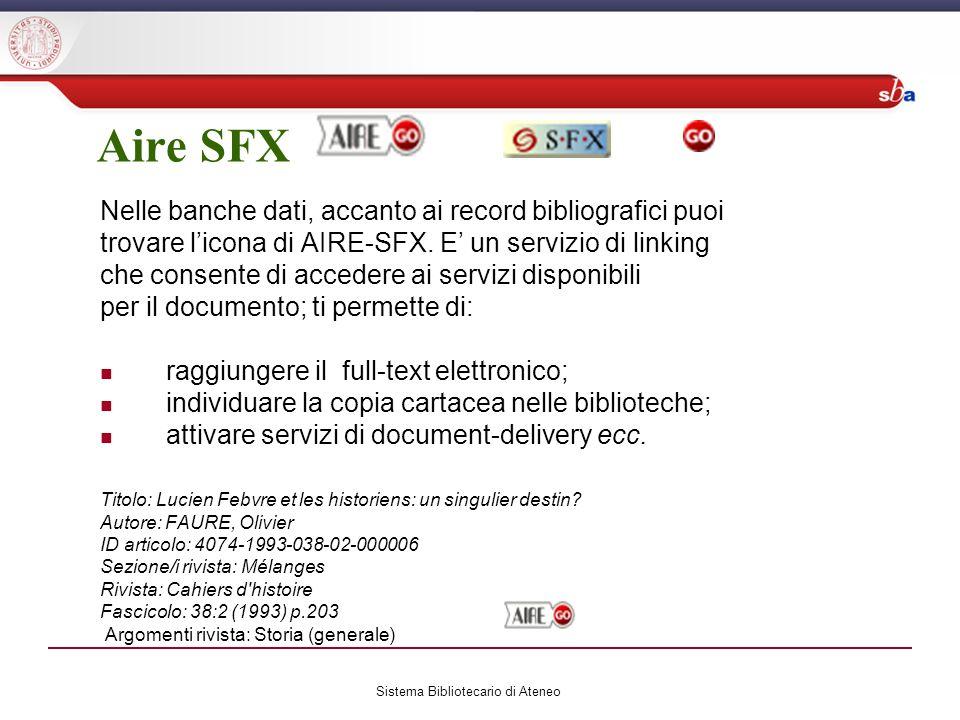 Aire SFX Nelle banche dati, accanto ai record bibliografici puoi trovare licona di AIRE-SFX.