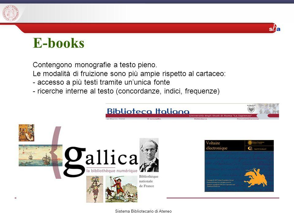 E-books Contengono monografie a testo pieno.