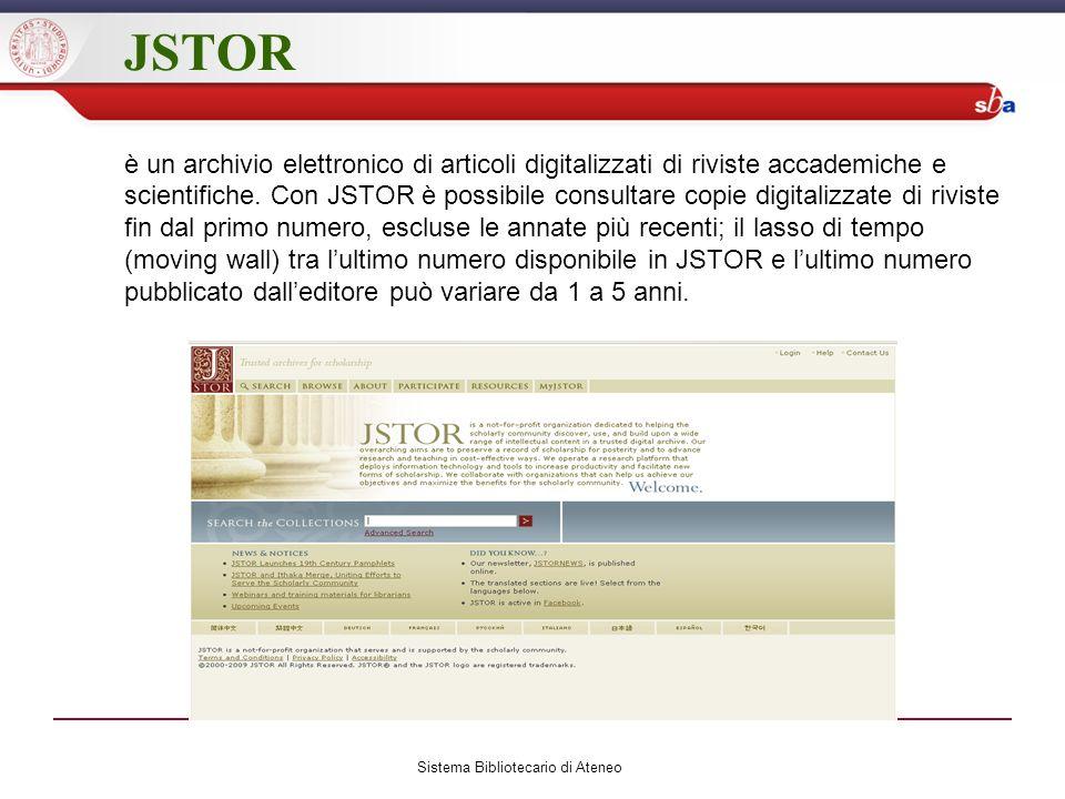 JSTOR è un archivio elettronico di articoli digitalizzati di riviste accademiche e scientifiche.