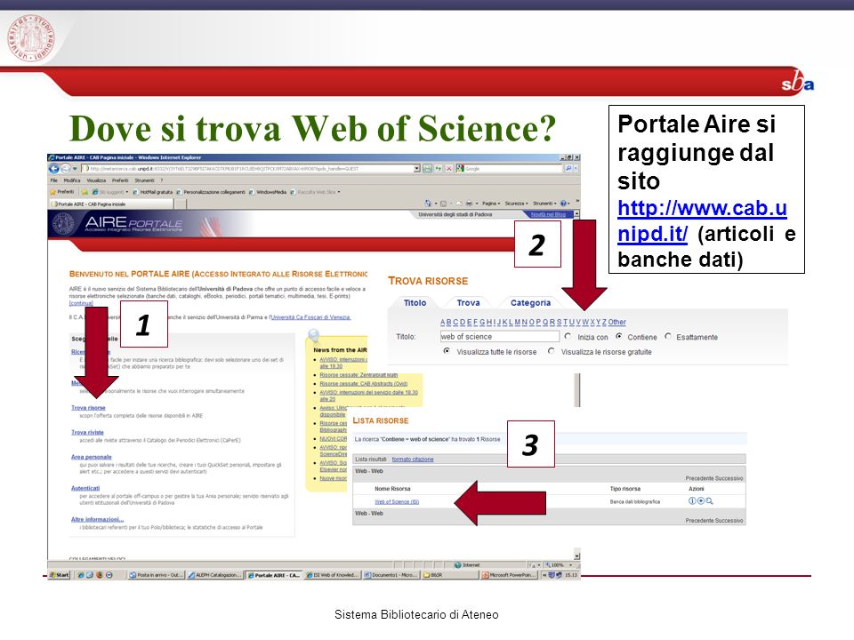 Dove si trova Web of Science.