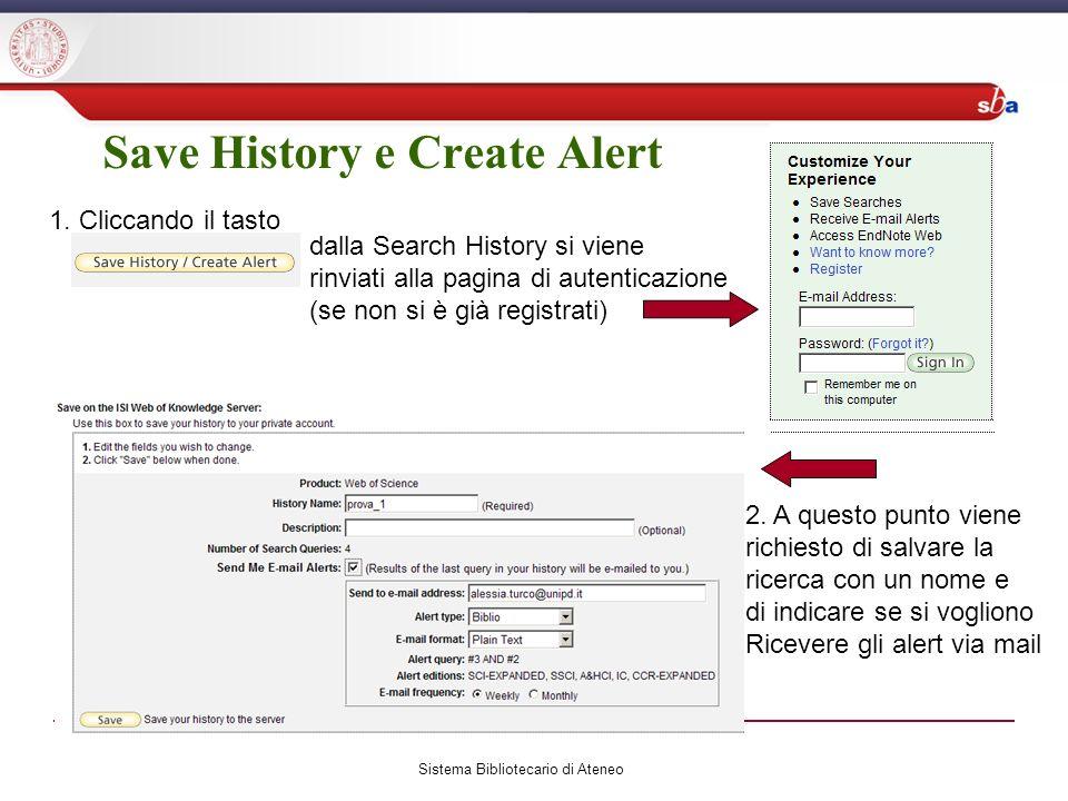 Sistema Bibliotecario di Ateneo Save History e Create Alert 1.