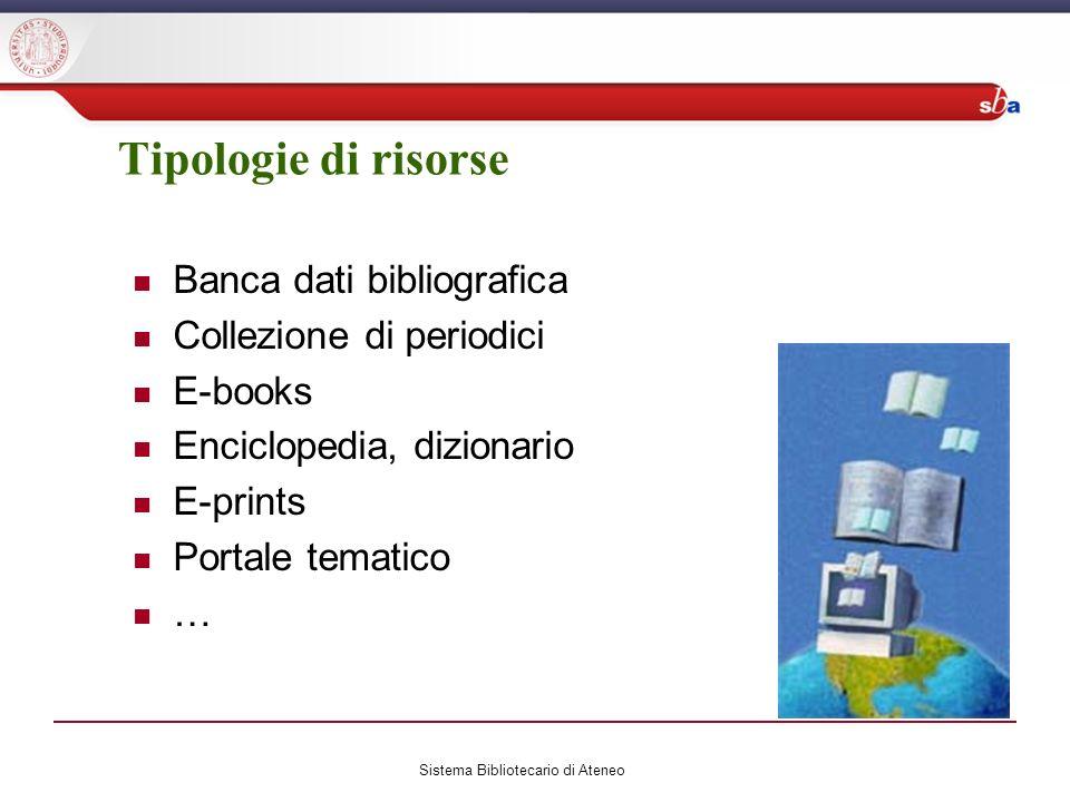 Tipologie di risorse Banca dati bibliografica Collezione di periodici E-books Enciclopedia, dizionario E-prints Portale tematico … Sistema Bibliotecario di Ateneo