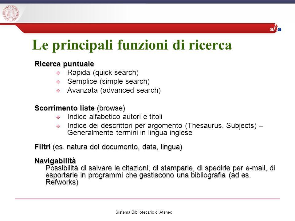 Le principali funzioni di ricerca Ricerca puntuale Rapida (quick search) Semplice (simple search) Avanzata (advanced search) Scorrimento liste (browse