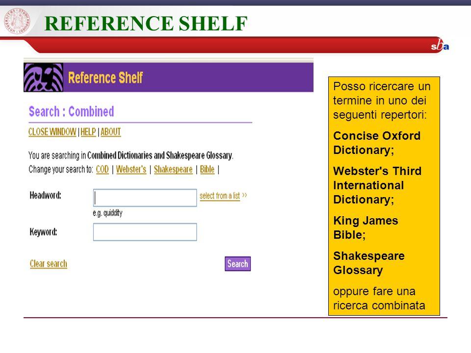 REFERENCE SHELF Posso ricercare un termine in uno dei seguenti repertori: Concise Oxford Dictionary; Webster's Third International Dictionary; King Ja