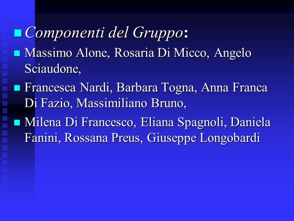 Componenti del Gruppo: Componenti del Gruppo: Massimo Alone, Rosaria Di Micco, Angelo Sciaudone, Massimo Alone, Rosaria Di Micco, Angelo Sciaudone, Fr