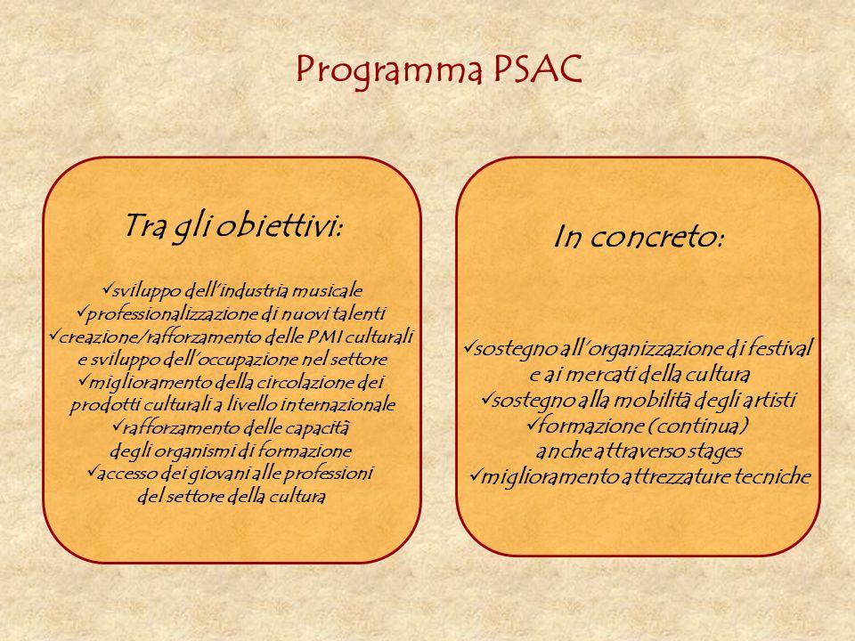 Programma PSAC Tra gli obiettivi: sviluppo dellindustria musicale professionalizzazione di nuovi talenti creazione/rafforzamento delle PMI culturali e