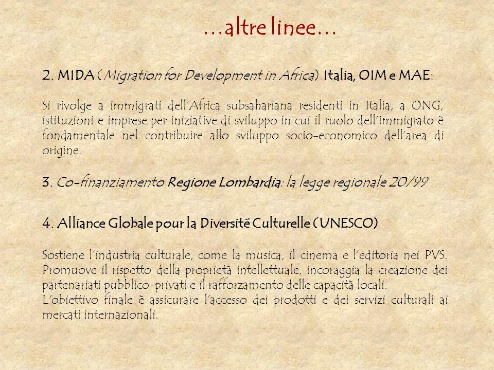 2. MIDA (Migration for Development in Africa) Italia, OIM e MAE: Si rivolge a immigrati dellAfrica subsahariana residenti in Italia, a ONG, istituzion