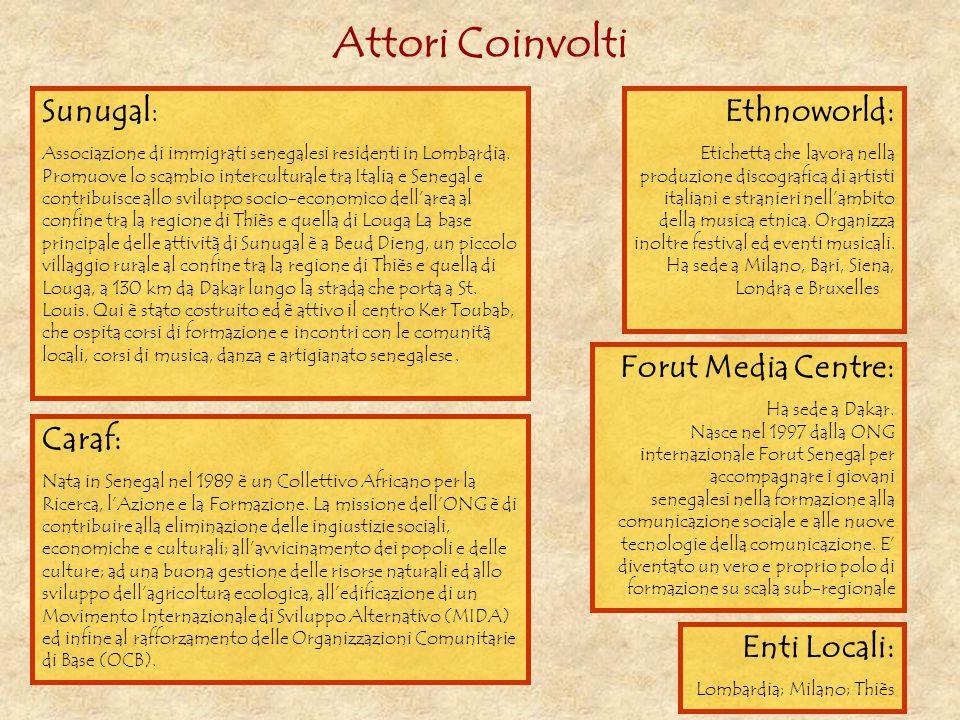 Attori Coinvolti Sunugal: Associazione di immigrati senegalesi residenti in Lombardia. Promuove lo scambio interculturale tra Italia e Senegal e contr