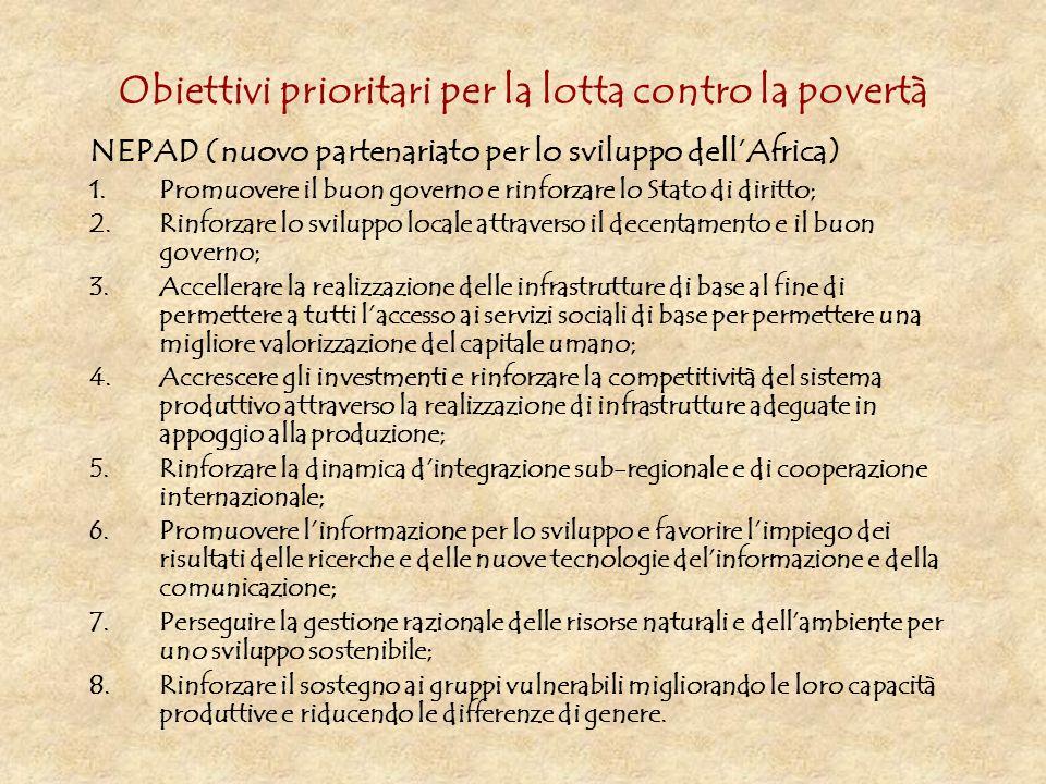 Obiettivi prioritari per la lotta contro la povertà NEPAD (nuovo partenariato per lo sviluppo dellAfrica) 1.Promuovere il buon governo e rinforzare lo