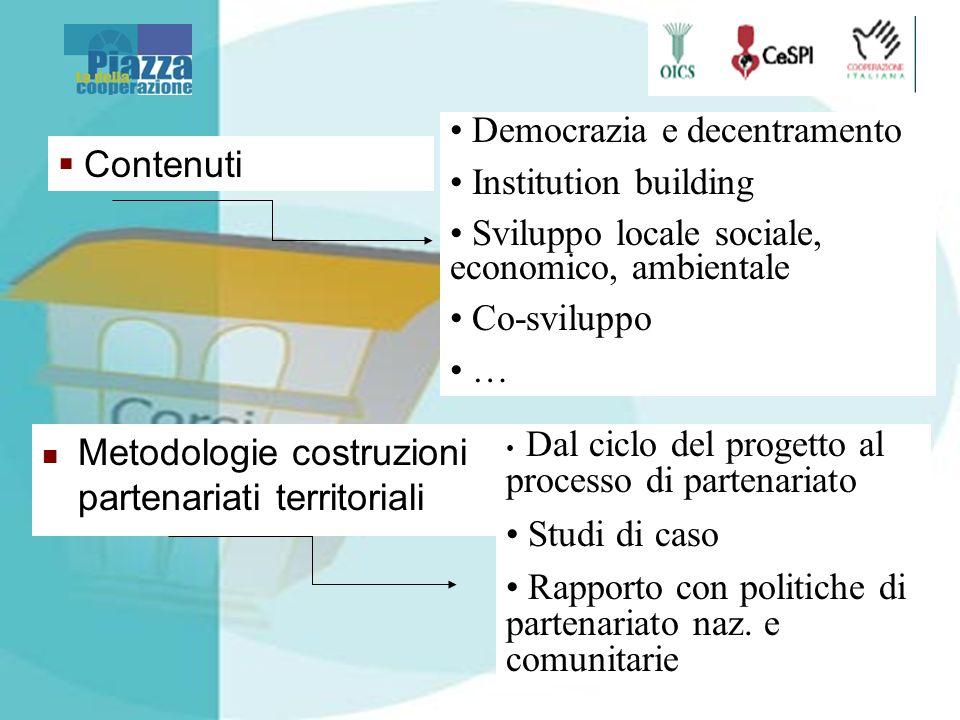 Metodologie costruzioni partenariati territoriali Dal ciclo del progetto al processo di partenariato Studi di caso Rapporto con politiche di partenariato naz.