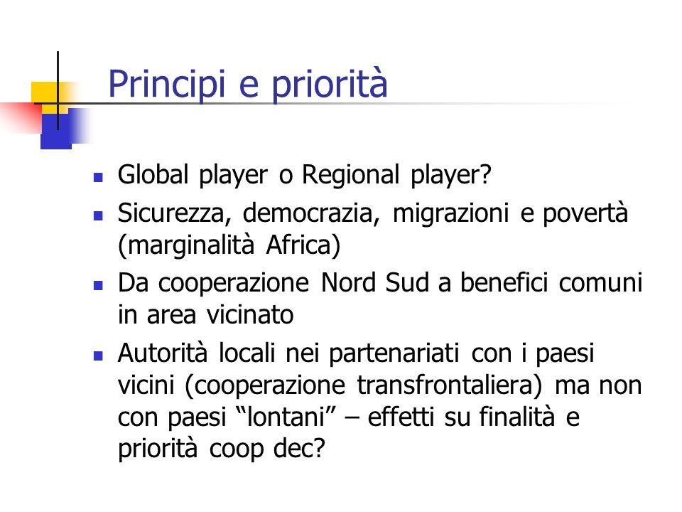 Principi e priorità Global player o Regional player? Sicurezza, democrazia, migrazioni e povertà (marginalità Africa) Da cooperazione Nord Sud a benef
