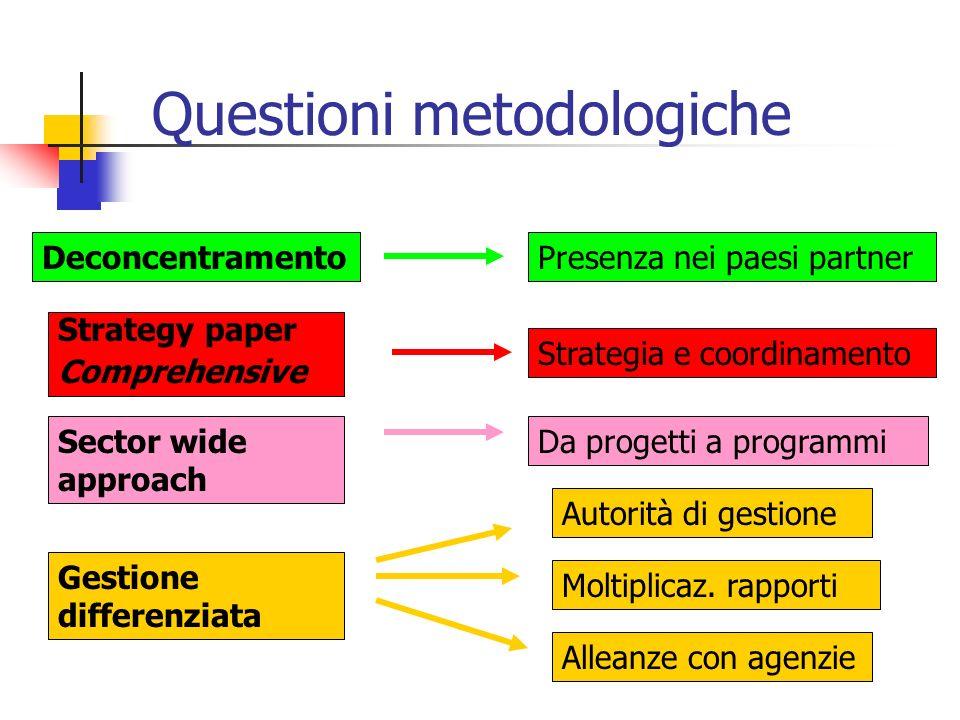 Questioni metodologiche DeconcentramentoPresenza nei paesi partner Strategy paper Comprehensive Strategia e coordinamento Gestione differenziata Autor